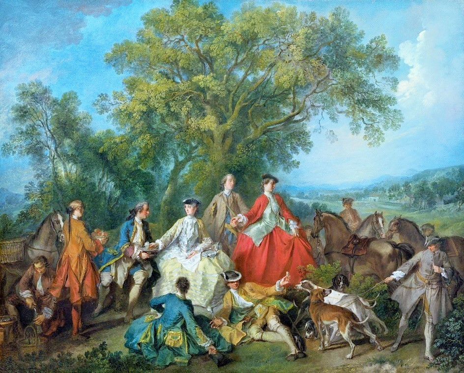 Nicolas Lancret's painting,  Picnic After the Hunt  depicting the social aspects of the Hunt game. After a long day of chasing and galloping around a festive celebration would often take place.