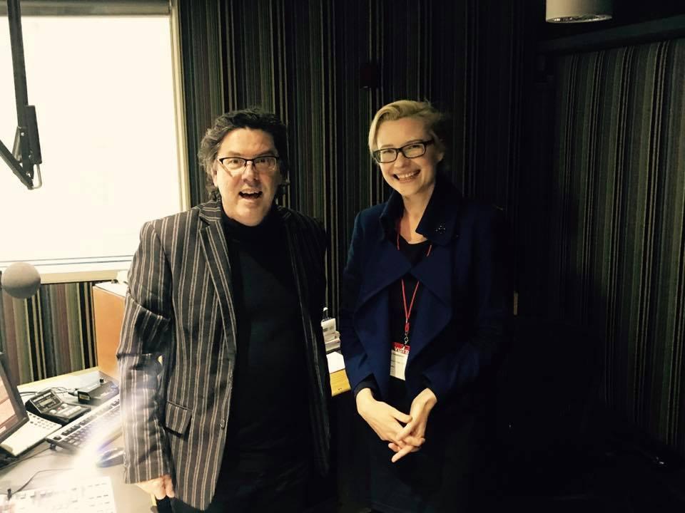 - Maria with James Valentine at ABC Radio Studios.