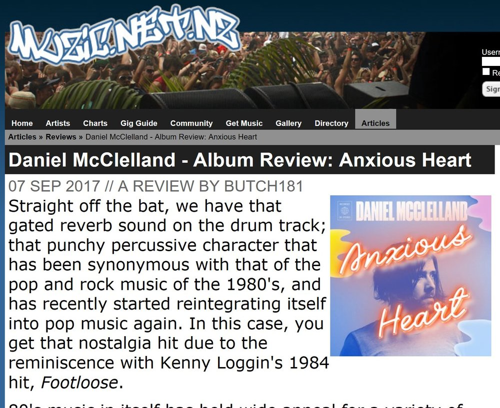 Anxious Heart review on Muzic.net.nz