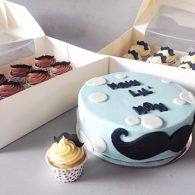 Moustache cake and cupcakes  | Brisbane Custom Cake Decorator | Holly Eloise Cake Artist | Kids