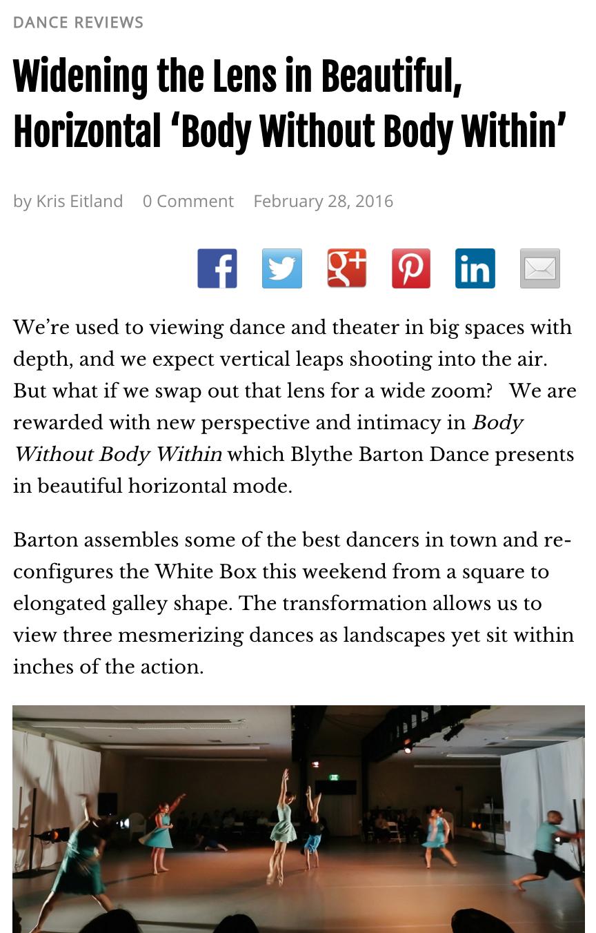 Kris Eitland, dance critic – San Diego Story