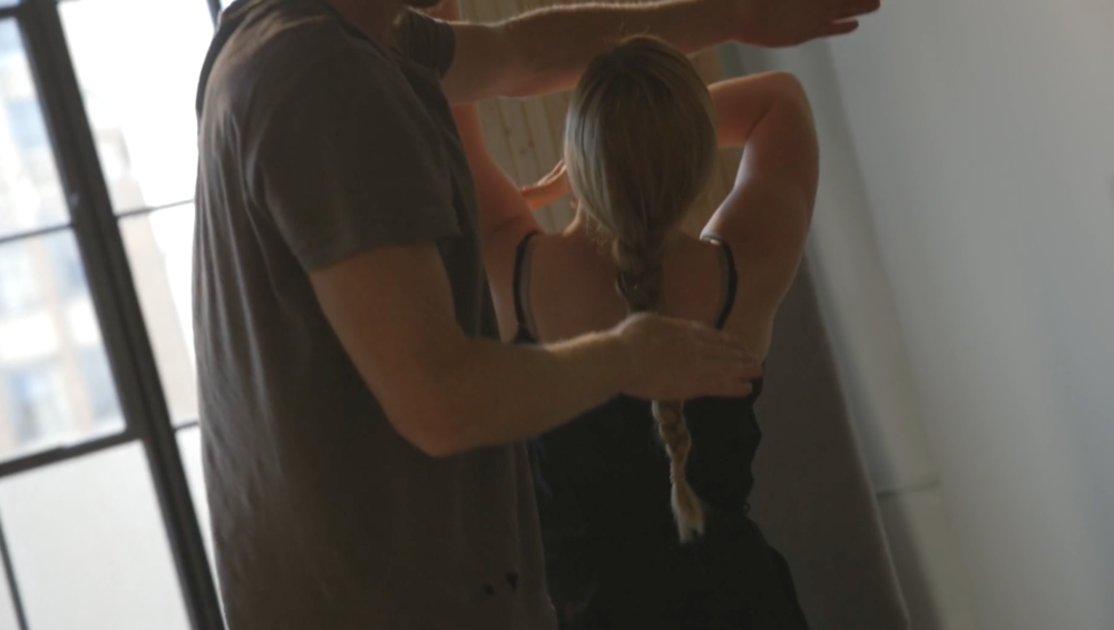 Still from Movement Test 3 for California Living Project II (2017) pictured Nate Page, Chelsea Zeffiro  captured by Ethan Coco