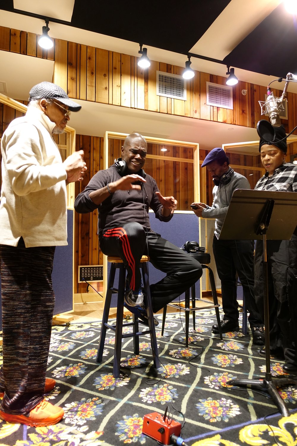 Mtume, Marlon Saunders, and Fonzi Thornton at Sounds on Sounds recording studio