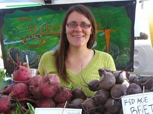 Amy selling beets at a farmer's market in Washington, where she spent a season working on an organic vegetable farm. You can find her this summer at the  Fox Point Farmer's Market  outside Milwaukee.