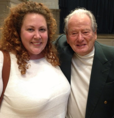 "Meg and Sir Neville Marriner, legendary longtime conductor of the Academy of St. Martin-in-the-Fields. You might recognize his name if you listen to classical music. With her choir, Meg has sung at quite a few of her ""bucket list places"" in the UK, including: Westminster Abbey (a solo!); St. Paul's Cathedral; St.. Martin-in-the-Fields; and the Royal Albert Hall for the BBC Proms"