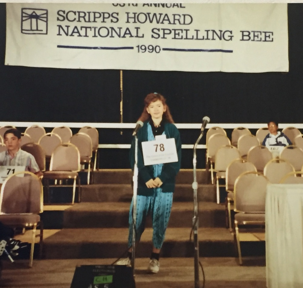 "In 7th grade, Rani came in 24th out of 227 spellers at the  Scripps Howard National Spelling Bee. Rani recalls that the Spelling Bee ""was probably the first time I'd ever encountered smart kids from around the globe."" And, she says, ""Yes, I am wearing Hammer pants. I had this outfit in two colors- aqua and hot pink."""