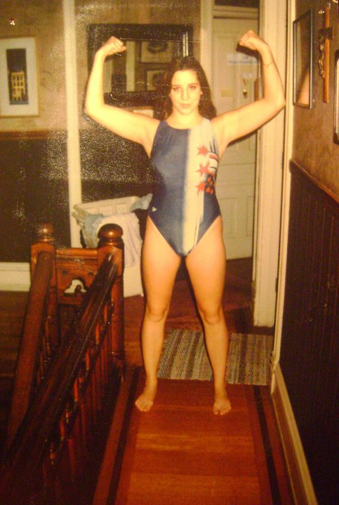 Monica strikes a power pose at about 15. She swam competitively from ages 4 to 18.