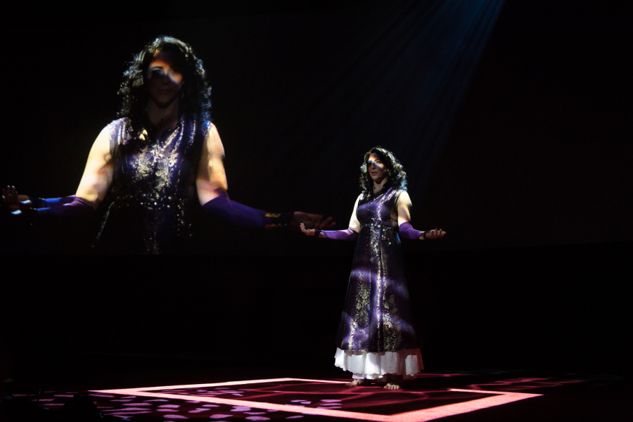 Monica performing as a 318-year-old hologram at the 2016 TED conference. Photo: Bret Hartman/TED from the TED Blog