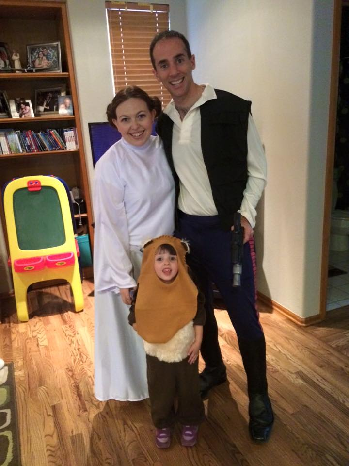 Is this Julie, her husband, and her daughter? Or is it Princess Leia, Han Solo, and a very cute Ewok?