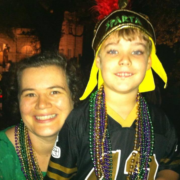 Amanda and her son George during Mardi Gras last year.