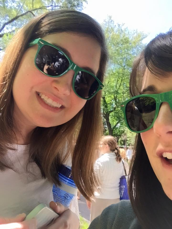 Having fun at my college reunion in 2015! (That's half of Beth Merfish's face with me.)