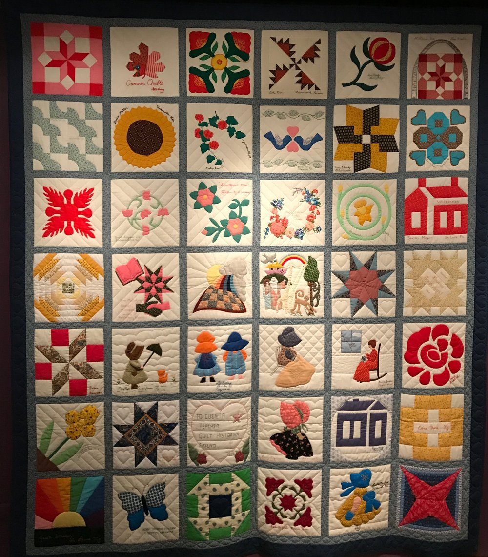 "This is friendship quilt made for Cuesta Benberry in 1979 by her friends, who were the ""who's who"" of the quilting world. Each block is just gorgeous, and you could feel the love and joy that went into the quilt. I think my favorites are the third row from the top on the left or the third from the left on the top row."