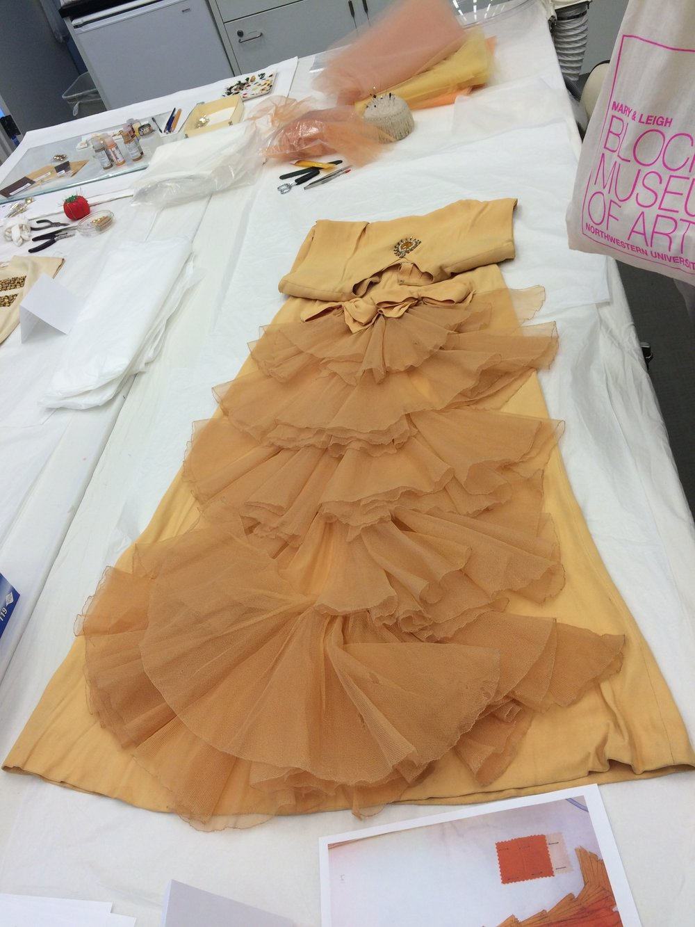 The elaborate tulle detail on the back of the dress also needed some reinforcement to be stable enough for display