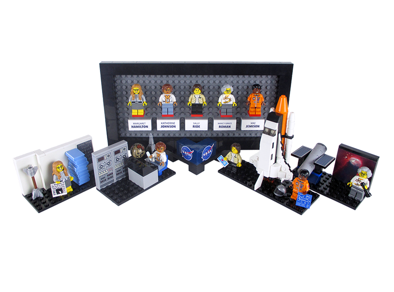 Lego announced this week that it would produce this set honoring women at NASA. From left, Margaret Hamilton, Katherine Johnson, Sally Ride, Nancy Grace Roman, and Mae Jemison. (Image: creator Maia Weinstock)