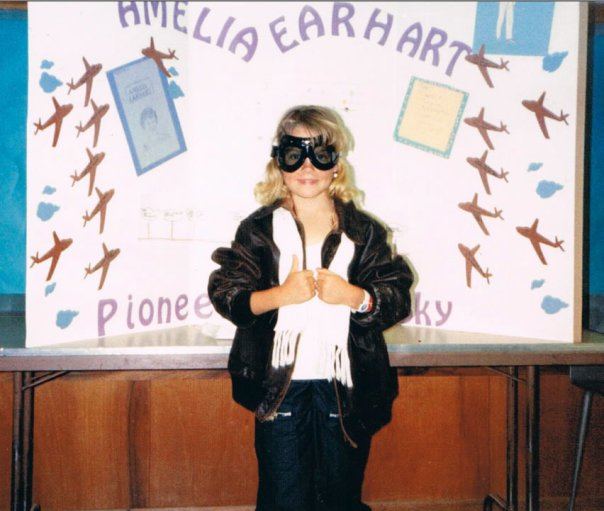 Rachel at 9 or 10 dressed as Amelia Earhart for a school project