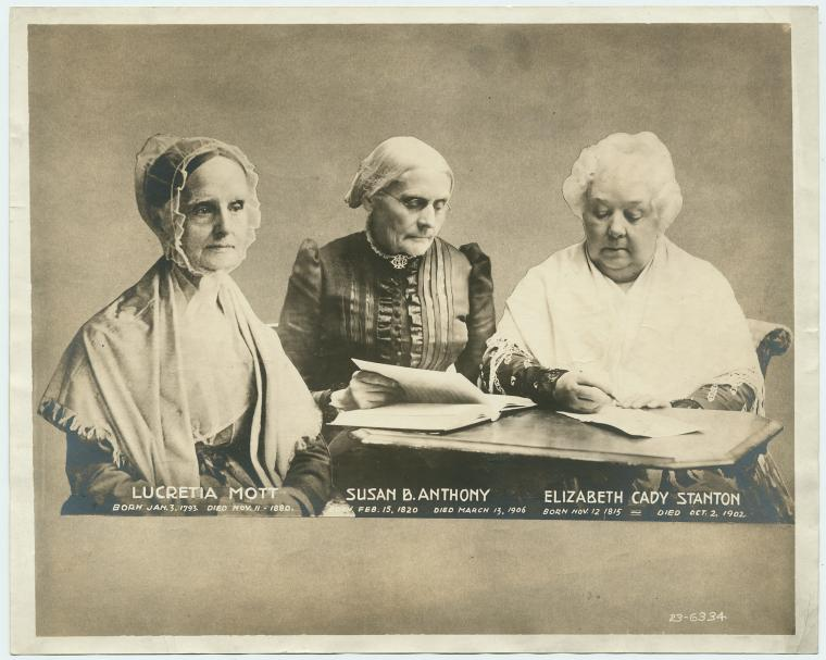 Lucretia Mott, Susan B. Anthony, and Elizabeth Cady Stanton, early leader's of the women's rights movement