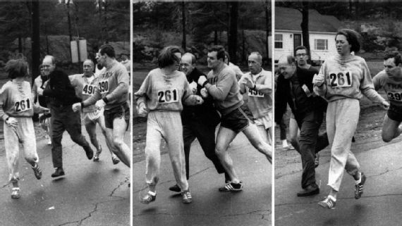 The Boston Herald captured Boston Marathon race director Jock Semple trying to forcibly remove Kathrine Switzer from the race. The two men intervening on Switzer's behalf are her boyfriend and running coach.