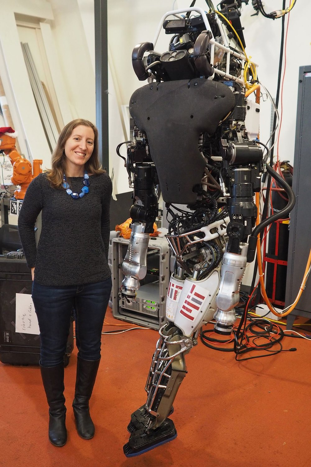 Maia with Atlas the robot at MIT