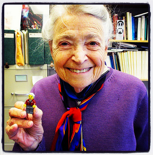 "Mildred Dresselhaus, the ""queen of carbon science"" and the LEGO Millie (Photo courtesy of Maia Weinstock)"