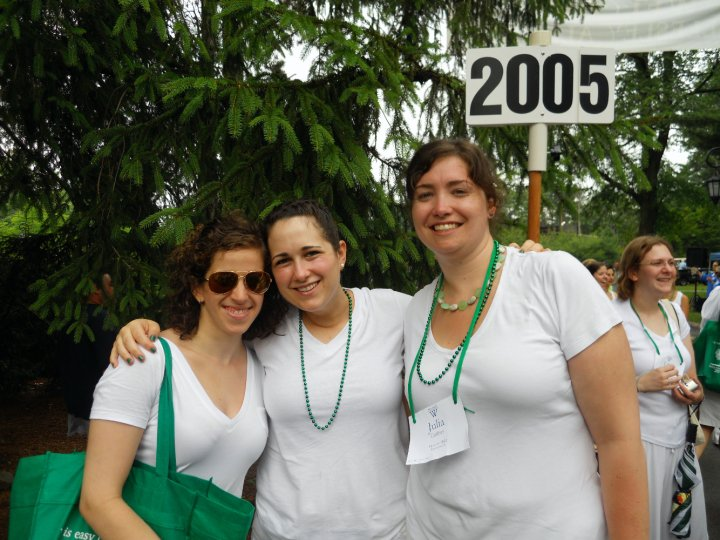 My friends Lizy and Beth and me at the reunion I dashed off to right after grad school graduation