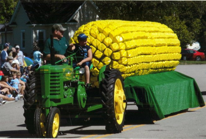 My favorite float in our local parade. Each corn kernel is made from a milk jug!
