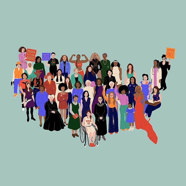 Every time I look at this beautiful painting commemorating the women's march by @shyamagolden, I notice another inspiring woman. Who can you spot? New blog post at the link in bio with more art from the march and more.  #womensmarch #inspiringwomen #womensrightsarehumanrights