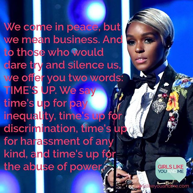 Still thinking about @janellemonae's powerful words at the Grammys on Sunday.... #GLYandM #timesup #janellemonae #wemeanbusiness #grammys