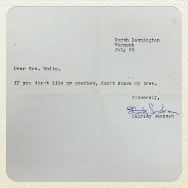 Filing away this response from Shirley Jackson for future use. 🌳🍑 Repost from @theunsungheroines  #shirleyjackson