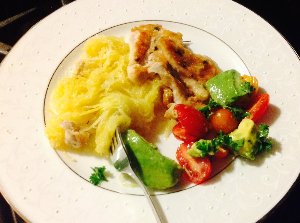 Spaghetti Squash with grilled chicken and avocado tomato salad