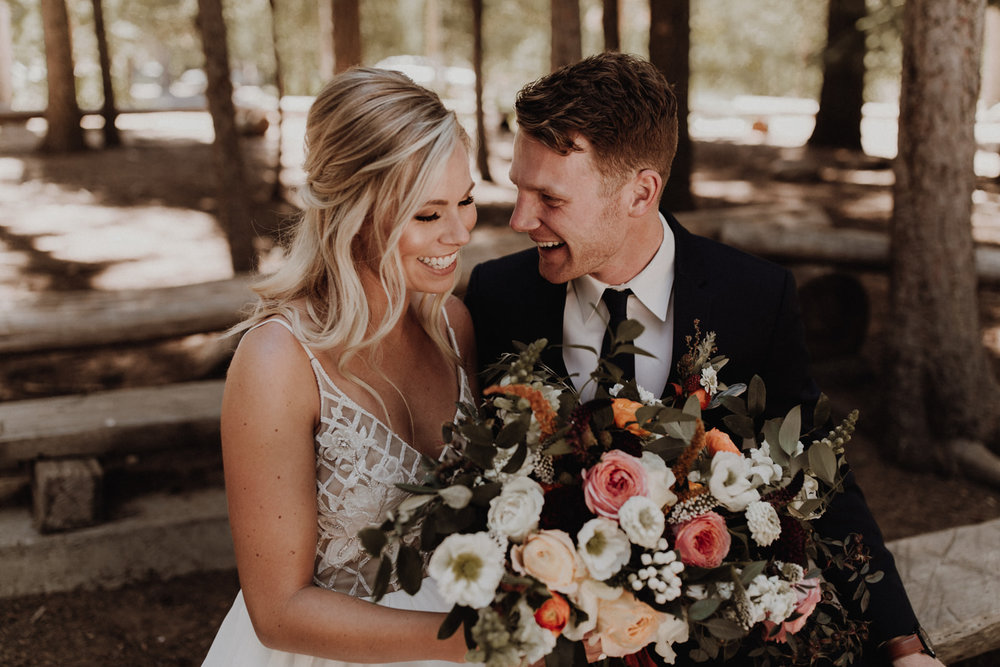 tori + regan - just like this couple's love, this skyliner lodge wedding in bend is all four seasons rolled into one