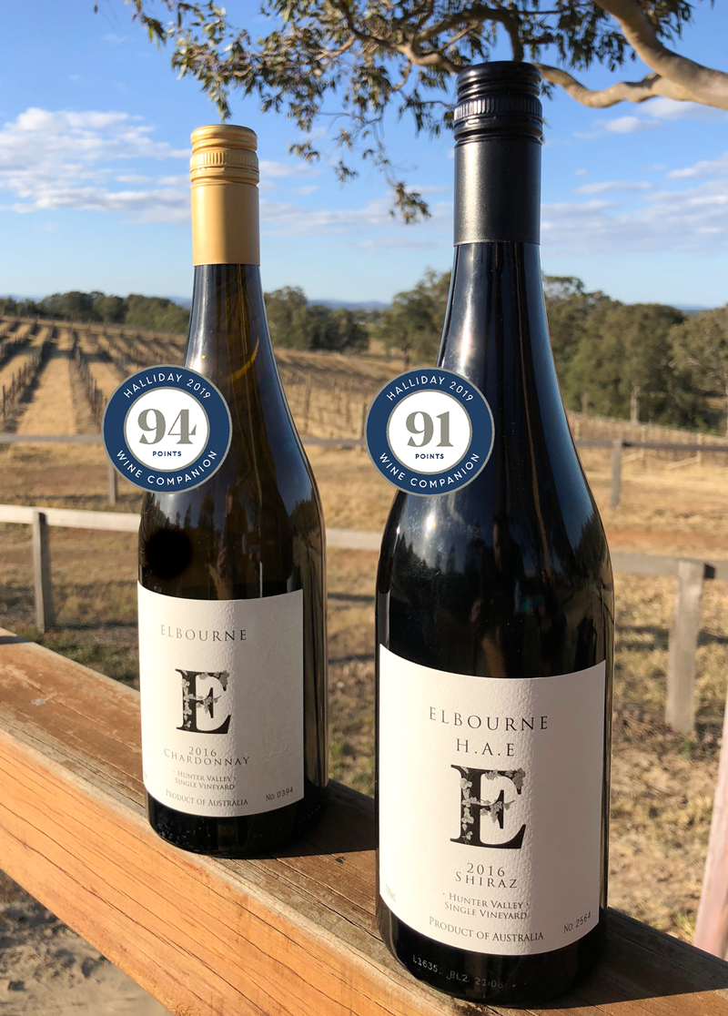 2019 Halliday Winners, Elbourne Wines 2016 Chardonnay received 94 points, and 2016 H.A.E. Shiraz received 91 points.