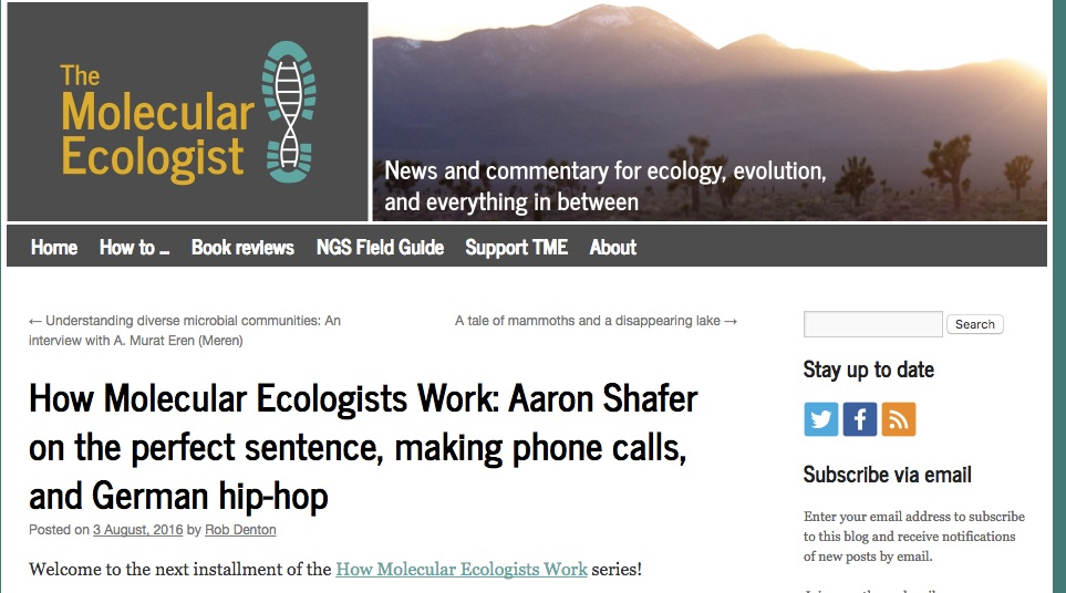 Read Aaron's interview at TME on how Molecular Ecologists work