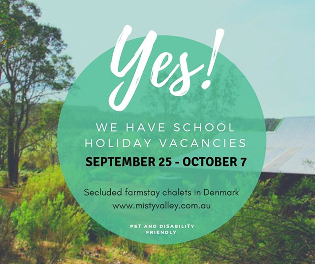 SCHOOL HOLIDAY AVAILABILITY!  We have just had a last minute cancellation for the upcoming school holidays. The dates that we have free are September 25 - October 7. We would love to have you join us if those dates suit you, either message us, book through our website www.mistyvalley.com.au or call Warren on 0428 409 239.