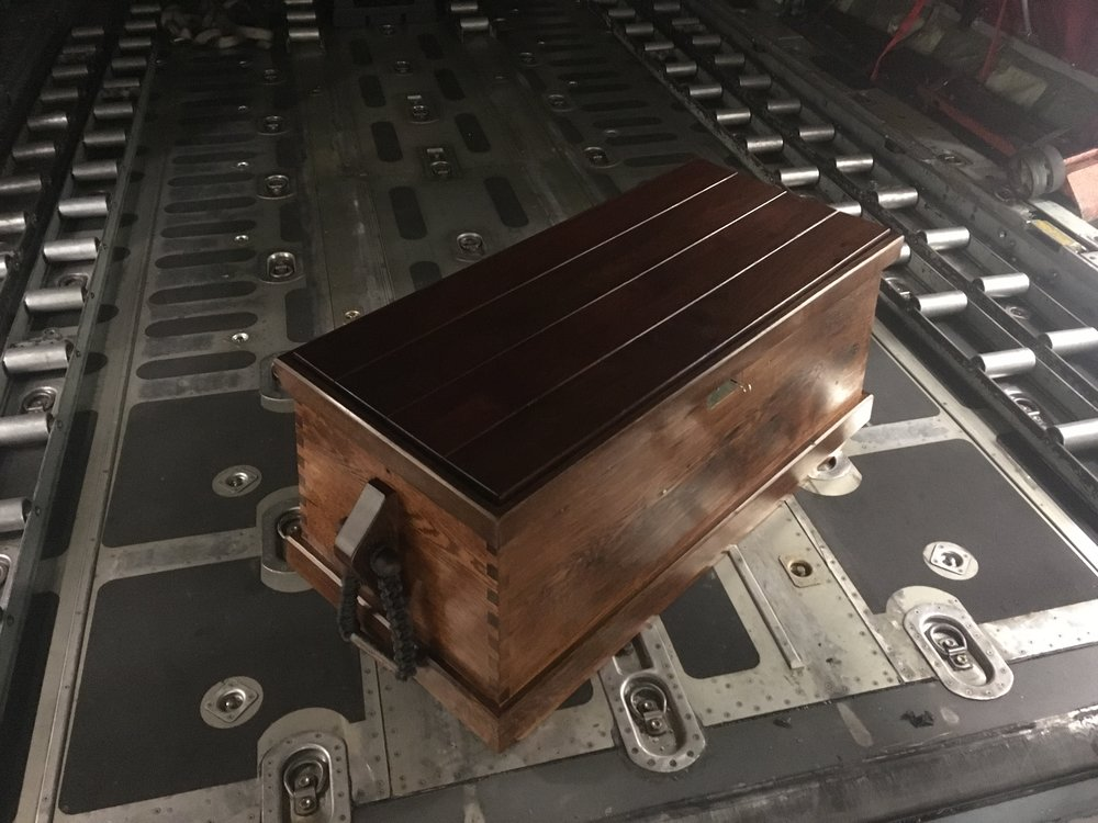 a traditional 18th centuary sea chest for a shipmate, from reclaimed oak, teak decking from the USS NewJersey and copper cladding from the USS Constitution.