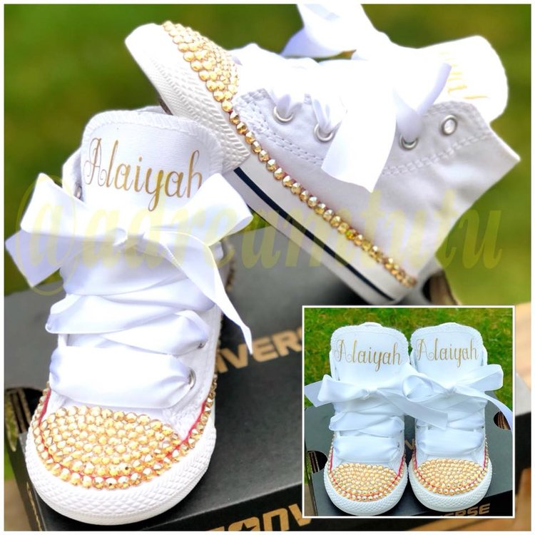 93328ec38e3b Gold White Personalized Converse — A Dream In a Tutu
