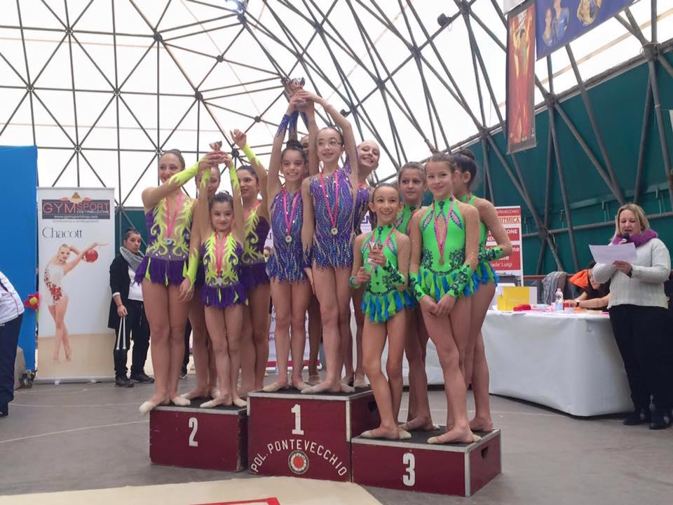 Oro per la squadra a corpo libero: Caterina,Emma,Sofia e Felicia