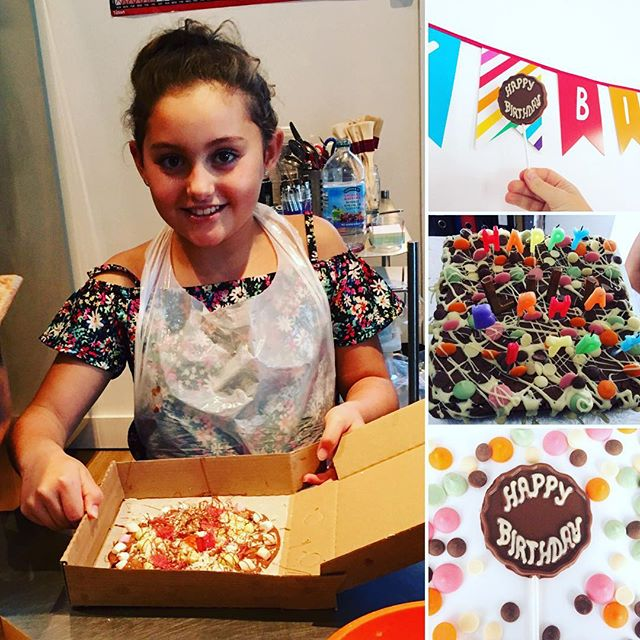 Happy birthday to our junior chocolatier who celebrated her birthday by making chocolate pizzas and edible photo booth props!