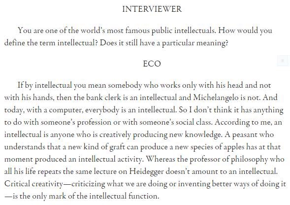Eco in his interview with The Paris Review, used without permission
