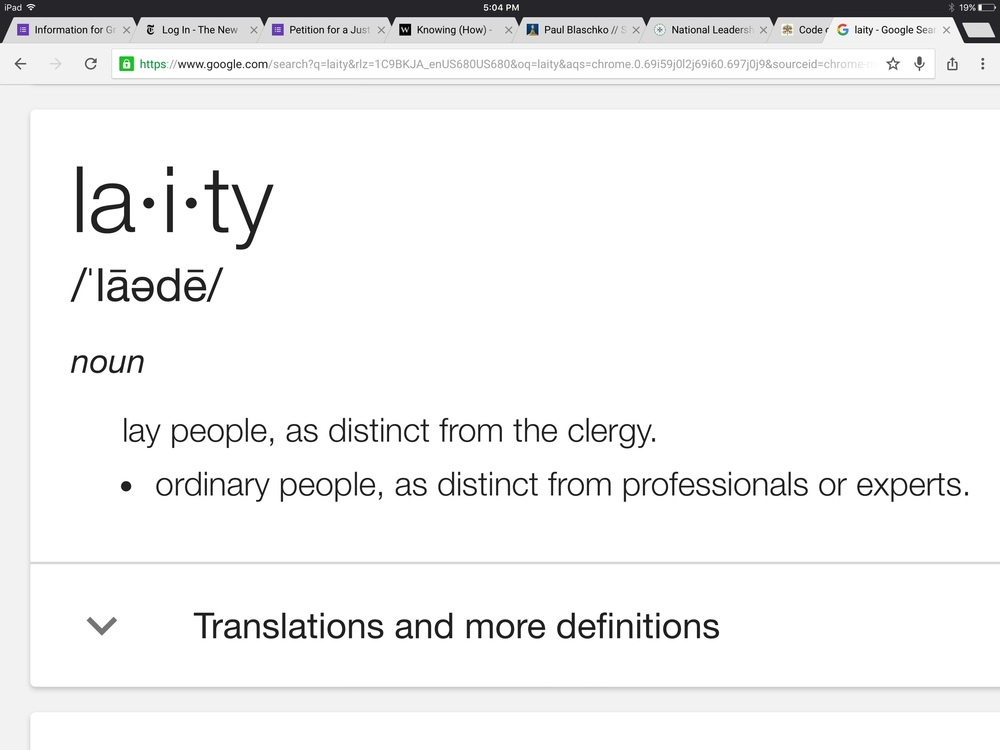 "I googled ""Laity"" and took a screenshot of the result"
