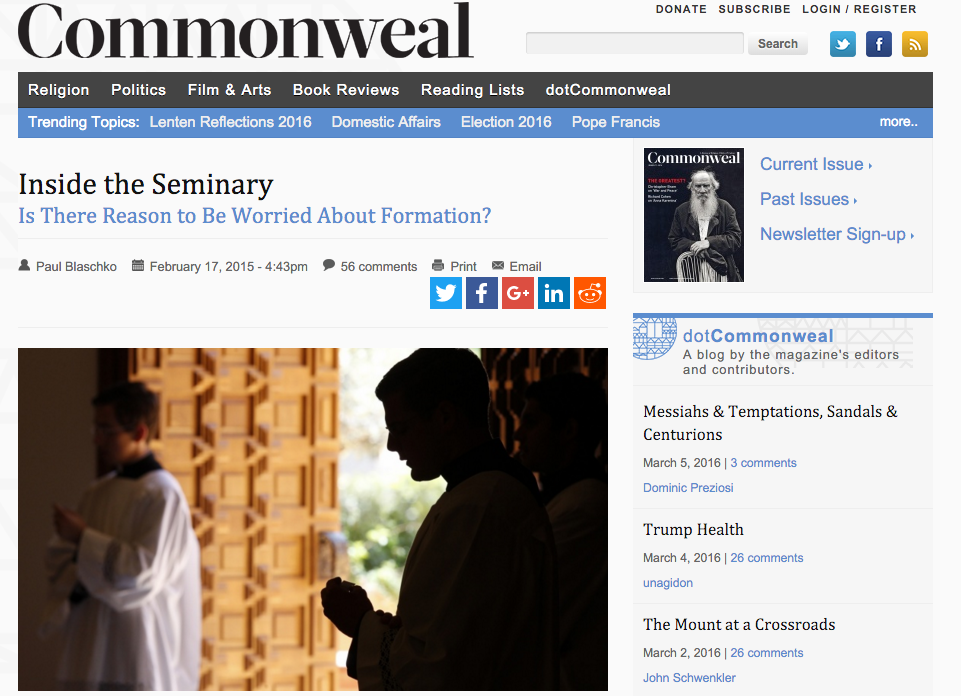 Click on the above image to read an article I wrote for  Commonweal Magazine  on the sex abuse crisis and priestly formation