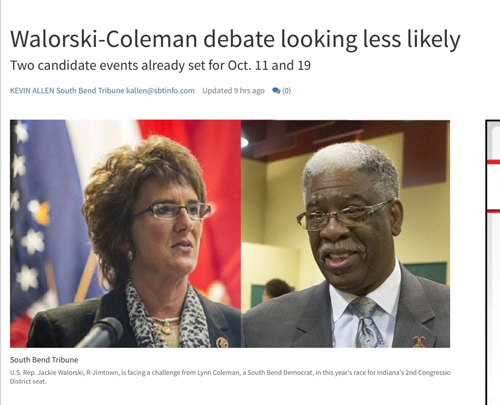 http://www.southbendtribune.com/news/elections/walorski-coleman-debate-looking-less-likely/article_0e4a8516-7ba8-11e6-885a-b774faaef67e.html