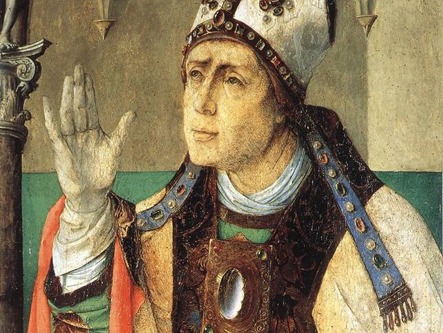 Augustine, opining  ( https://en.m.wikipedia.org/wiki/Augustine_of_Hippo#/media/File%3AGiusto_di_Gand_(Joos_van_Wassenhove)%2C_sant'agostino.jpg )
