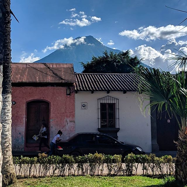 You'd never guess that you're basically a mile above sea level when you've got this gigantic 🌋 beast just chilling in the background, making you and the city feel small in comparison. #vulcan #antiguaguatemala