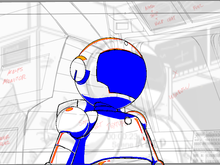 Rough animation layout drawing from the short film.