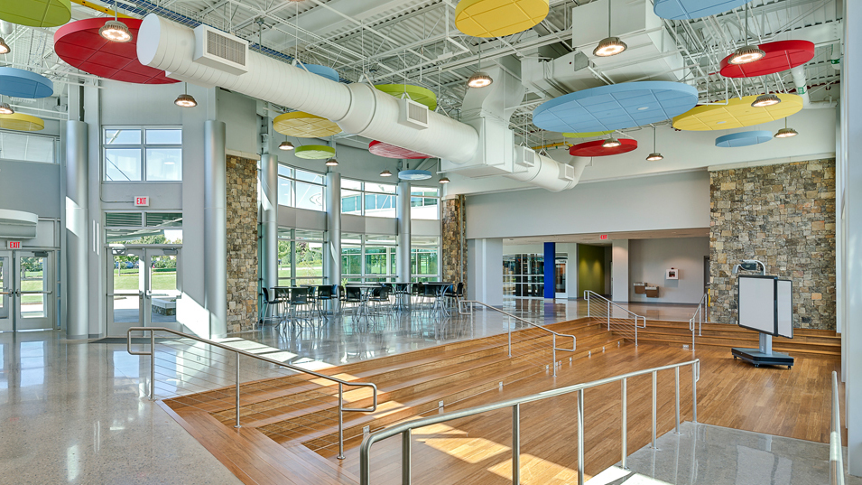 Beautiful middle school learning space designed by  FNI .
