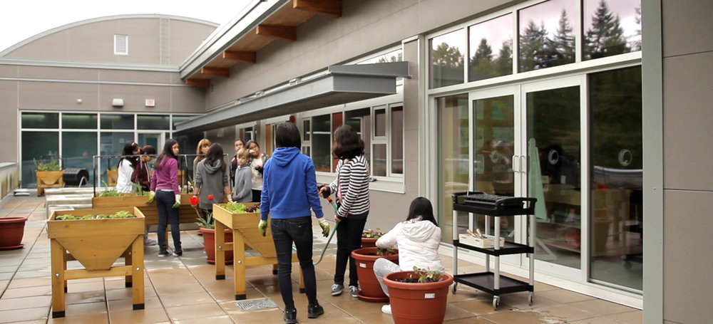 Outdoor gardening spaces allow students to learn many skills in a practical way while being outside.