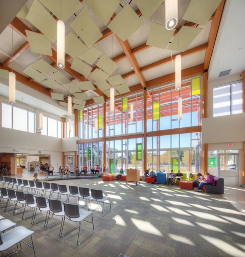 The two-story windows on Douglas Park's façade let in natural light to the south-facing commons area, which connects to each 'learning studio.'