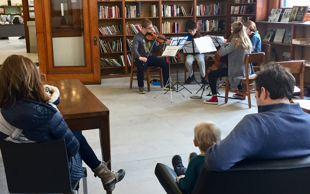 Pop-Up Library Concerts - Saturday, February 3, 2018Seven YC² groups performed at six different neighborhood branches of Carnegie Library of Pittsburgh - Brookline, West End, Allegheny, South Side, Lawrenceville, and East Liberty. Check out our photo album from this special day on our YC² Facebook Page.