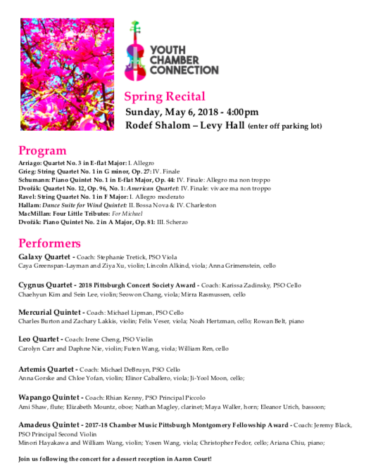 Spring Recital #2 - Sunday, May 6, 2018Levy Hall at Rodef Shalom, Shadyside, PACLICK on each photo below to hear the student chamber groups' performance.