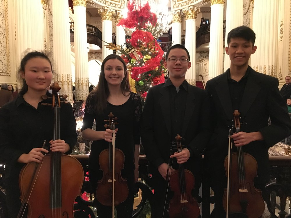 Concert of Peace and Unity - Pittsburgh Symphony - Tuesday, November 27, 2018 - Vivo Quartet - Heinz Hall for the Performing ArtsYunshu, Carolyn, Enoch, and Futen—students at North Allegheny School District and all members or alum of the Pittsburgh Youth Symphony Orchestra—were invited to perform in the lobby before the Pittsburgh Symphony Orchestra's special Concert for Peace and Unity, to honor the victims of the Tree of Life tragedy. Vivo Quartet is PYSO's 2018-19 Montgomery Fellowship Quartet.